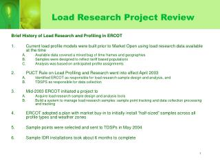 Load Research Project Review