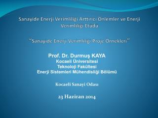 Prof. Dr. Durmuş KAYA Kocaeli Üniversitesi Teknoloji Fakültesi