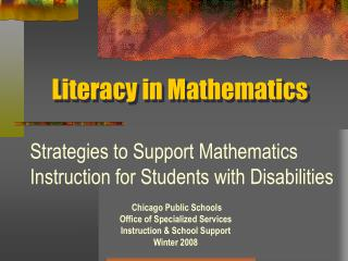 Literacy in Mathematics