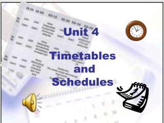 Timetables  and  Schedules