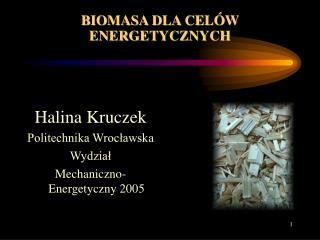 BIOMASA DLA CELÓW ENERGETYCZNYCH