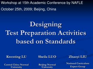Designing  Test Preparation Activities  based on Standards