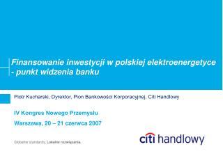 Finansowanie inwestycji w polskiej elektroenergetyce - punkt widzenia banku