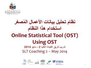 نظام تحليل بيانات الأعمال المُصغر استخدام هذا النظام Online  Statistical Tool (OST ) Using OST