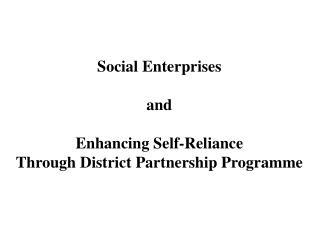 Social Enterprises and Enhancing Self-Reliance Through District Partnership Programme