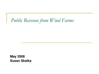 Public Revenue from Wind Farms