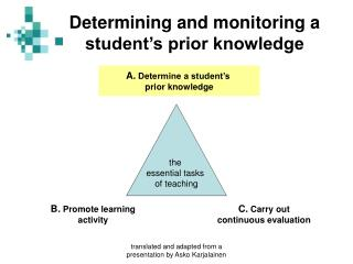 Determining and monitoring a student's prior knowledge