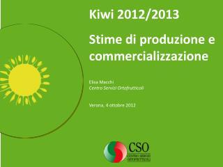 Kiwi 2012/2013  Stime di produzione e commercializzazione Elisa Macchi