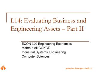 L14: Evaluating Business and Engineering Assets � Part II