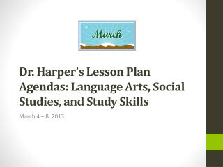Dr. Harper's Lesson Plan Agendas: Language Arts, Social Studies, and Study Skills