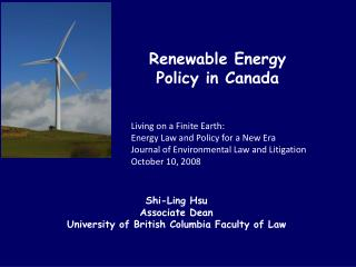 Renewable Energy  Policy in Canada