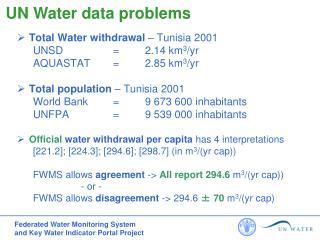 Total Water withdrawal  – Tunisia 2001 UNSD = 2.14 km 3 /yr AQUASTAT = 2.85 km 3 /yr