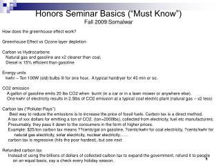 """Honors Seminar Basics (""""Must Know"""") Fall 2009:Somalwar"""