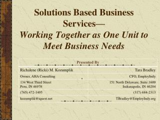 Solutions Based Business Services— Working Together as One Unit to Meet Business Needs