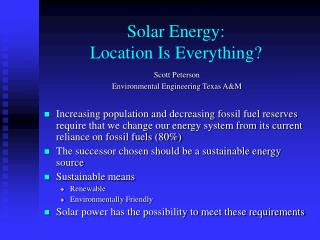 Solar Energy: Location Is Everything?