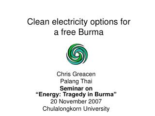 Clean electricity options for a free Burma