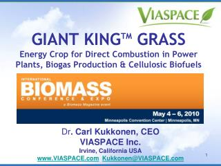 Dr . Carl Kukkonen, CEO VIASPACE Inc. Irvine, California USA