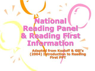 National Reading Panel  Reading First Information