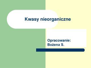 Kwasy nieorganiczne