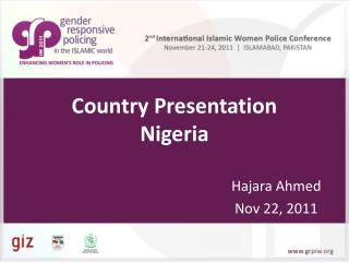 Country Presentation  Nigeria