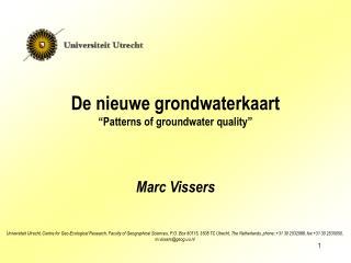 """De nieuwe grondwaterkaart """"Patterns of groundwater quality"""""""
