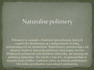 Naturalne polimery