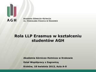 Rola LLP Erasmus w kształceniu studentów AGH