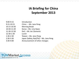 IA Briefing for China September 2013