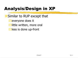 Analysis/Design in XP