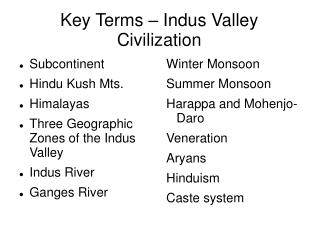 Key Terms – Indus Valley Civilization