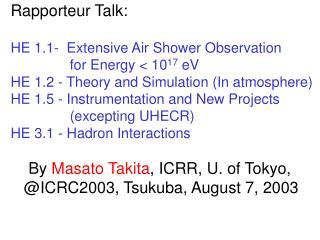 Rapporteur Talk:  HE 1.1-  Extensive Air Shower Observation