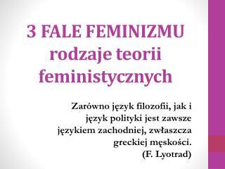 3 FALE FEMINIZMU rodzaje teorii feministycznych