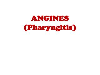 ANGINES  ( Pharyngitis )
