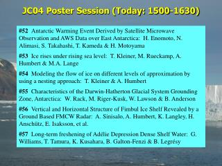 JC04 Poster Session (Today: 1500-1630)