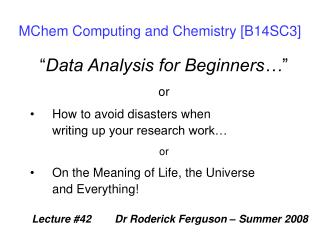 MChem Computing and Chemistry [B14SC3]