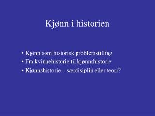 Kjønn i historien