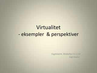 Virtualitet - eksempler  & perspektiver
