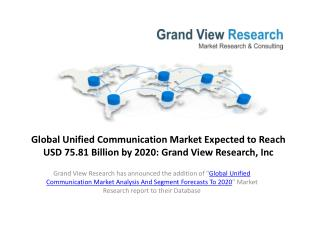 Unified Communication Market  Trends and Forecast to 2020