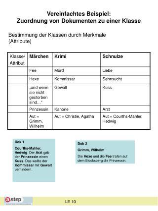 Vereinfachtes Beispiel:  Zuordnung von Dokumenten zu einer Klasse