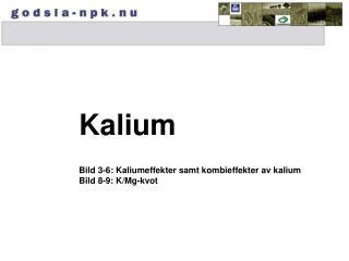 Kalium Bild 3-6: Kaliumeffekter samt kombieffekter av kalium Bild 8-9: K/Mg-kvot