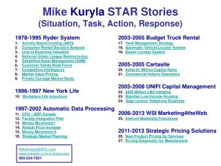 Mike  Kuryla  STAR Stories  (Situation, Task, Action, Response)