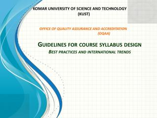 Guidelines for course syllabus design Best practices and international trends