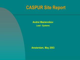 CASPUR Site Report