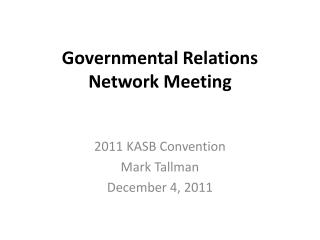 Governmental Relations Network Meeting