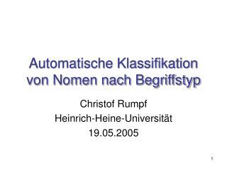 Automatische Klassifikation von Nomen nach Begriffstyp