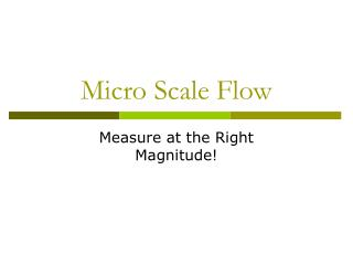 Micro Scale Flow