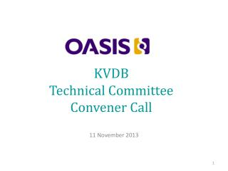 KVDB Technical Committee Convener Call