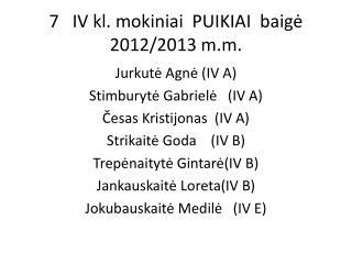7   IV  kl . mokiniai  PUIKIAI  baigė  2012/2013  m.m .