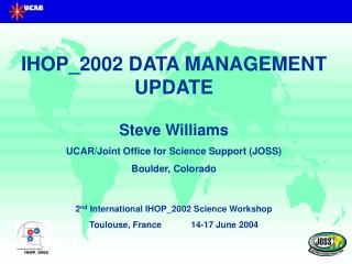 IHOP_2002 DATA MANAGEMENT UPDATE Steve Williams UCAR/Joint Office for Science Support (JOSS)