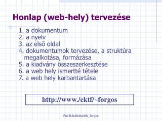Honlap (web-hely) tervezése